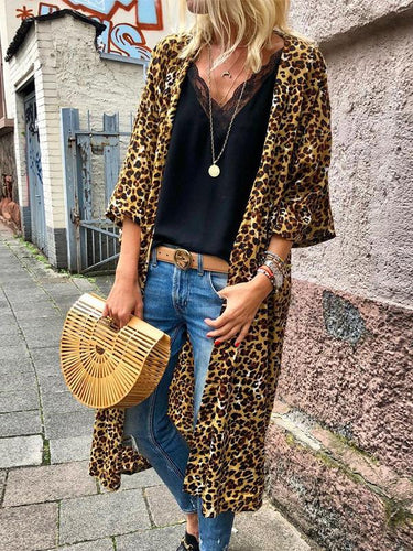 Round Neck  Long Sleelve Leopard Printed Cardigan - lolabuy