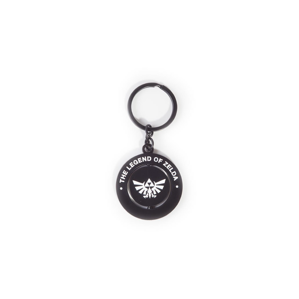 Zelda Black & White Metal Spinner Keychain