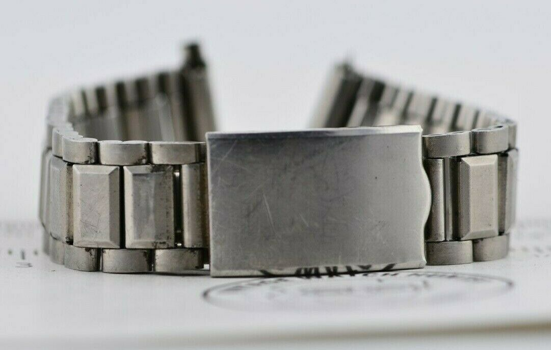 B079 17mm Vintage 1970s Om Watch Band Bracelet Stainless Steel Japan JDM 105.1