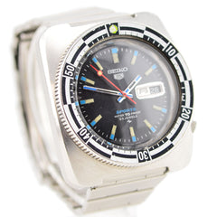 1969 Seiko 5 Sports Rally Diver Day Date Checked Bezel Watch 5126-8130