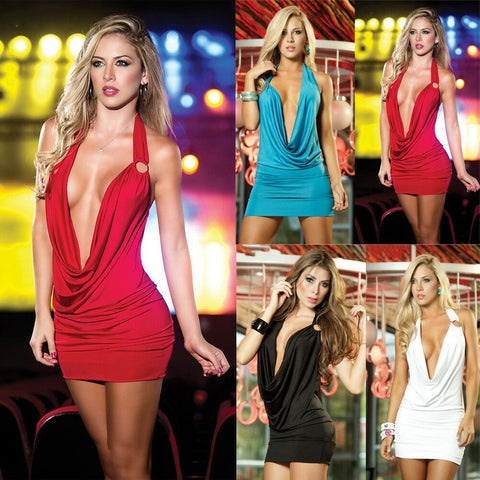 Sheath Deep V Necked Short Backless Slim Fit Mini Dress with Trendy Look - BiggShopp.com