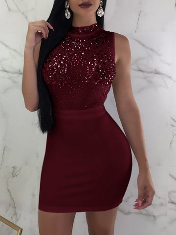 O-Necked, Skinny Sequins Patchworked Mini Pencil Dress with Trendy Look - BiggShopp.com