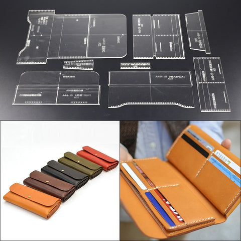 Sewing Patterned, Acrylic Stencil Templated Multi-functional Premium Quality Leather Craft Wallet Set - BiggShopp.com