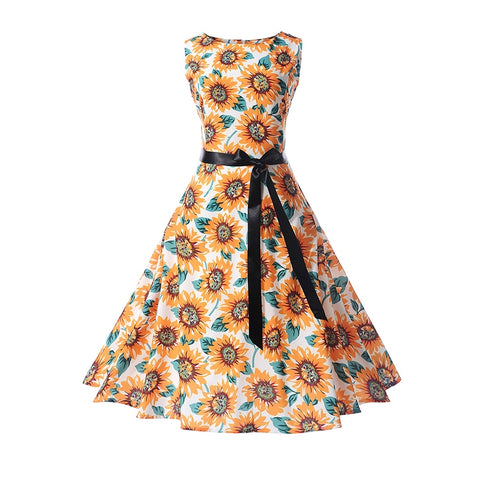 Vintage Styled, Floral Printed Plus Size A-Line Sleeveless Dress with Elegant Desing - BiggShopp.com