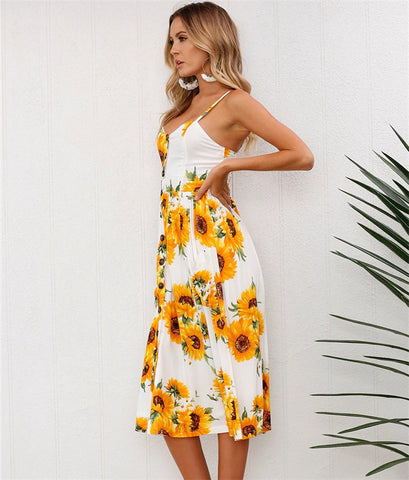 Floral Printed. Spaghetti Strapped, V-necked Backless Midi Dress with Fashionable Design - BiggShopp.com