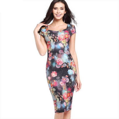 Floral Fashioned, High Slimmed, Short Sleeve Waist Pencil Dress with Elegant Look - BiggShopp.com