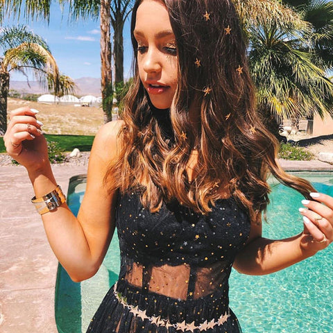Sequined, Mesh Sheered Sling Bikini Cover Up Star Long Party/Beach/Summer/Holiday/Music Festival Dress - BiggShopp.com