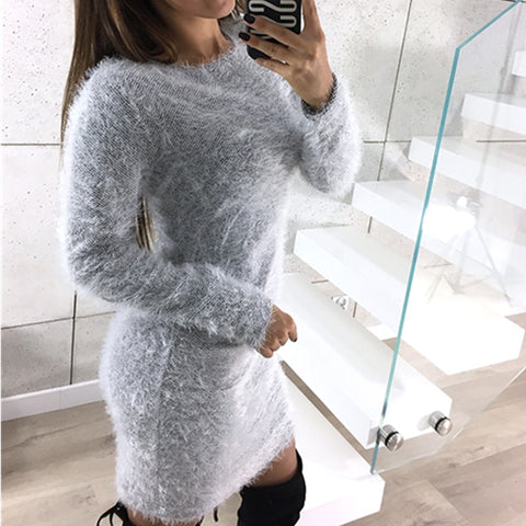 O-necked, Long Sleeved, Slim Fitted Solid Fluffy Dress with Stylish Design - BiggShopp.com