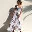 Long Styled, Sleeveless V-necked Flora Maxi Waist Loose Size Fashionable Dress