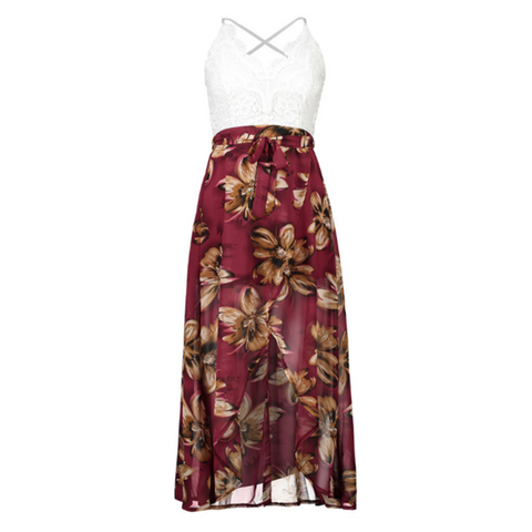 Floral Printed, V-necked, Spaghetti Loose and Long Beach/Holiday/Summer Dress with Stylish Look - BiggShopp.com