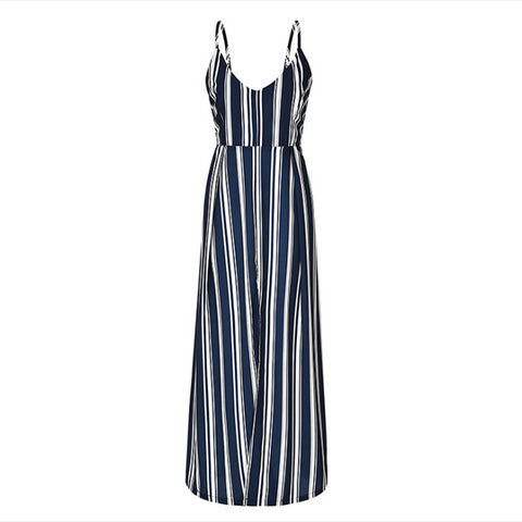 Waist Striped, Off Shoulder V-necked Backless Long Dress with Trendy Look - BiggShopp.com