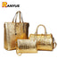 Luxury Alligator Crocodile Leather Handbag Set for Women | 3 Pcs
