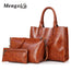 High Quality Oil Wax Leather Handbag Set for Women | 3 Pcs