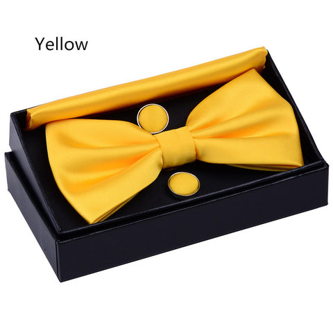 Solid yet High Quality Pre-tied Bow Tie Set for Men | Bow tie Pocket Square Cufflinks With Box - BiggShopp.com
