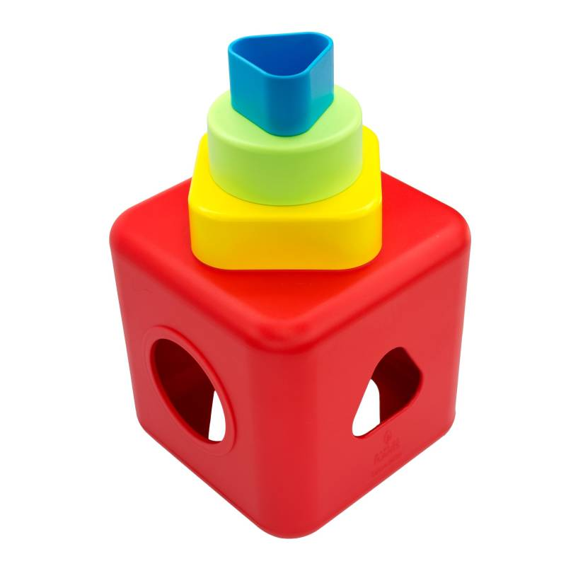 2c10fd27332d Shape Sorting   Stacking Cube • Safe and Eco Baby Toy Made from ...