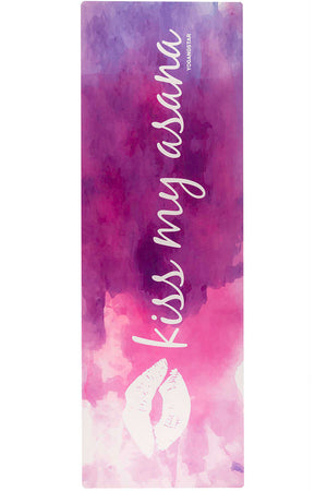 "Kiss My Asana White <br><span class=""free-promo"">Yoga Mat + Free Yoga Bag</span>"