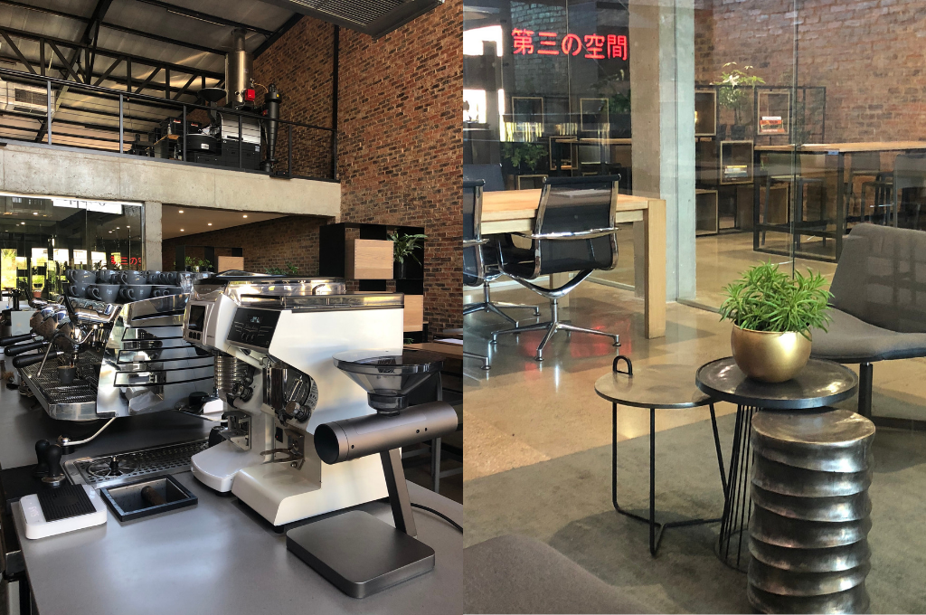Two images of the Thirdspace bar and the shop floor