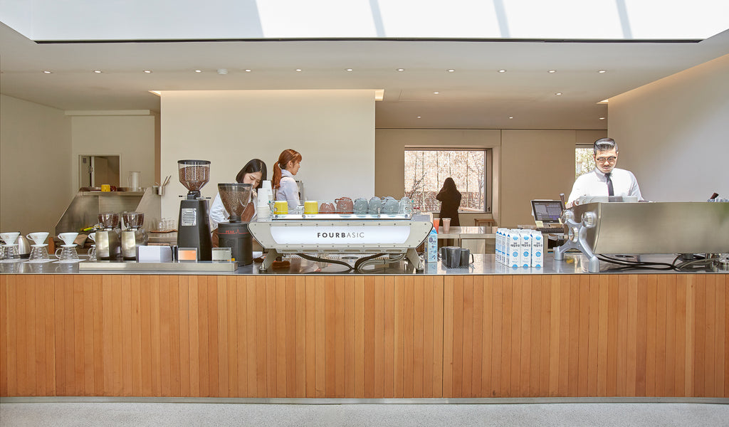 a view of the bar in the new store, with acaia scales on the left hand side.