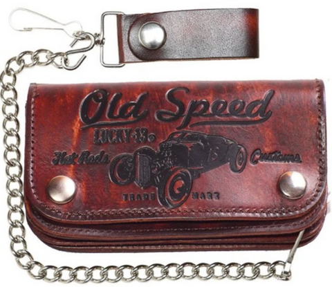 Lucky 13 Old Speed Antiqued Brown genuine leather wallet with chain