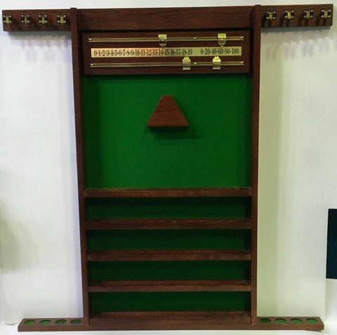 Polished timber wall mounted pool cue rack