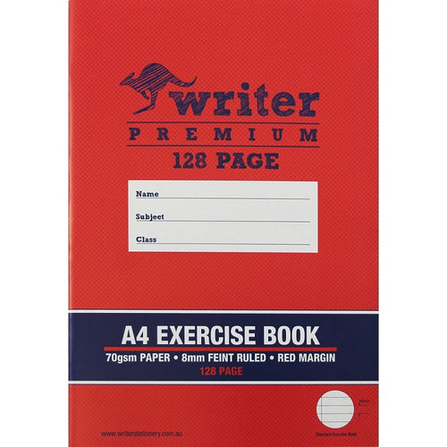 10 A    : A4 Exercise Book - 128 Page - with Red Margin