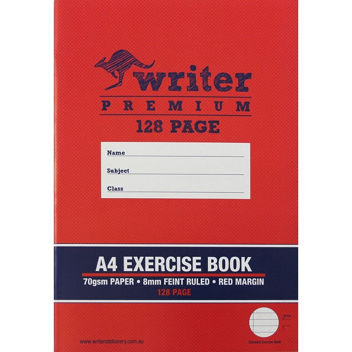A4 Exercise Book - 128 Page - with Red Margin