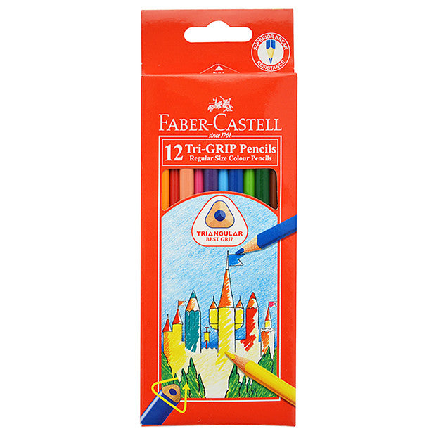 Coloured Pencils - Faber Tri-Grip Pack 12