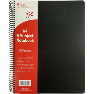 5 Subject Notebook A4 - Stat Poly Cover - 250 Page