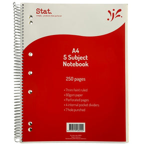 5 Subject Notebook A4 - Stat - 250 Page