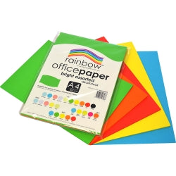 Coloured Paper - Brights Assorted - A4 80gsm - 100 Pack