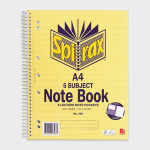 5 Subject Notebook A4 - Spirax - 250 Page