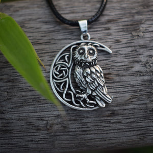 Owl pendants and necklaces great spirit animal crescent moon owl pendant necklace aloadofball Image collections