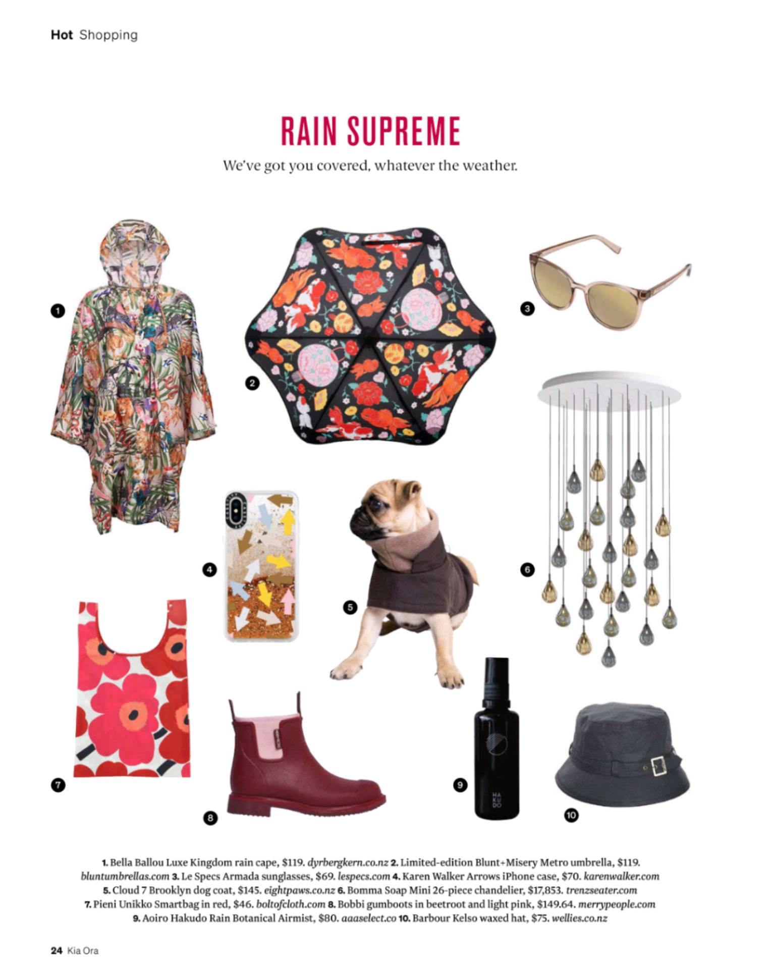 magazine editorial of essential rain gear included merry people beetroot boots