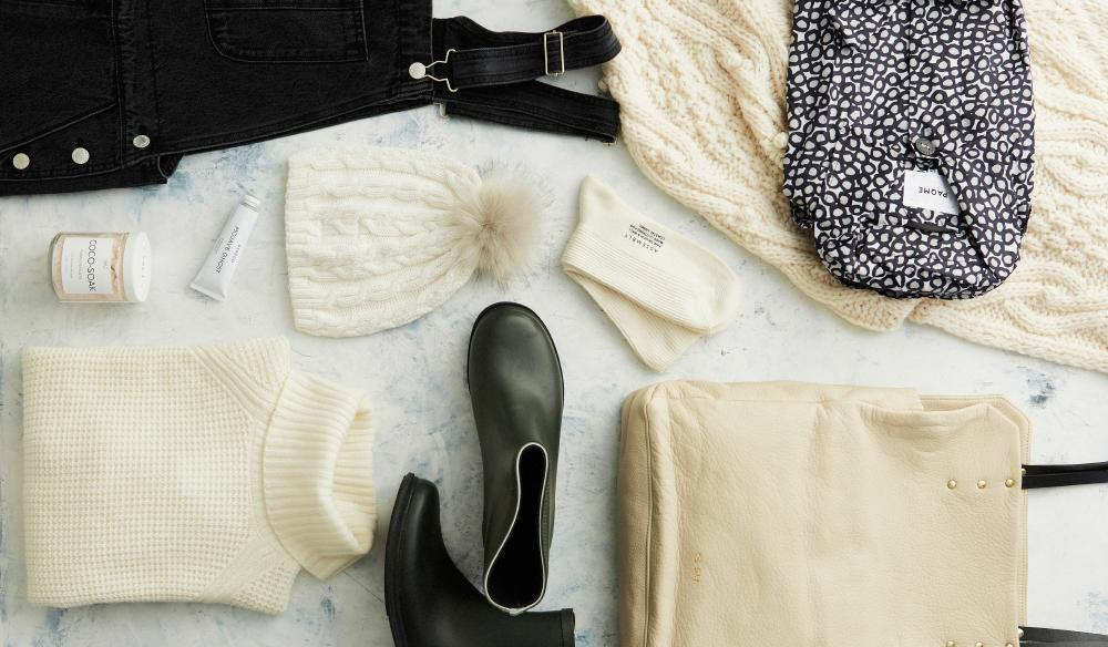 Australian Traveller Magazine, flatlay of winter clothing essentials, merry people boots, jumper, scarf