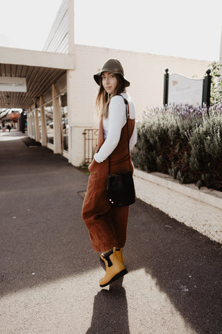storm riparide, rust overalls and merry people gumboots