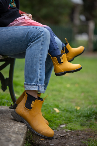 Mum and me with mustard yellow boots