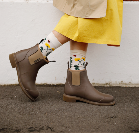Floral socks + Earthy Brown