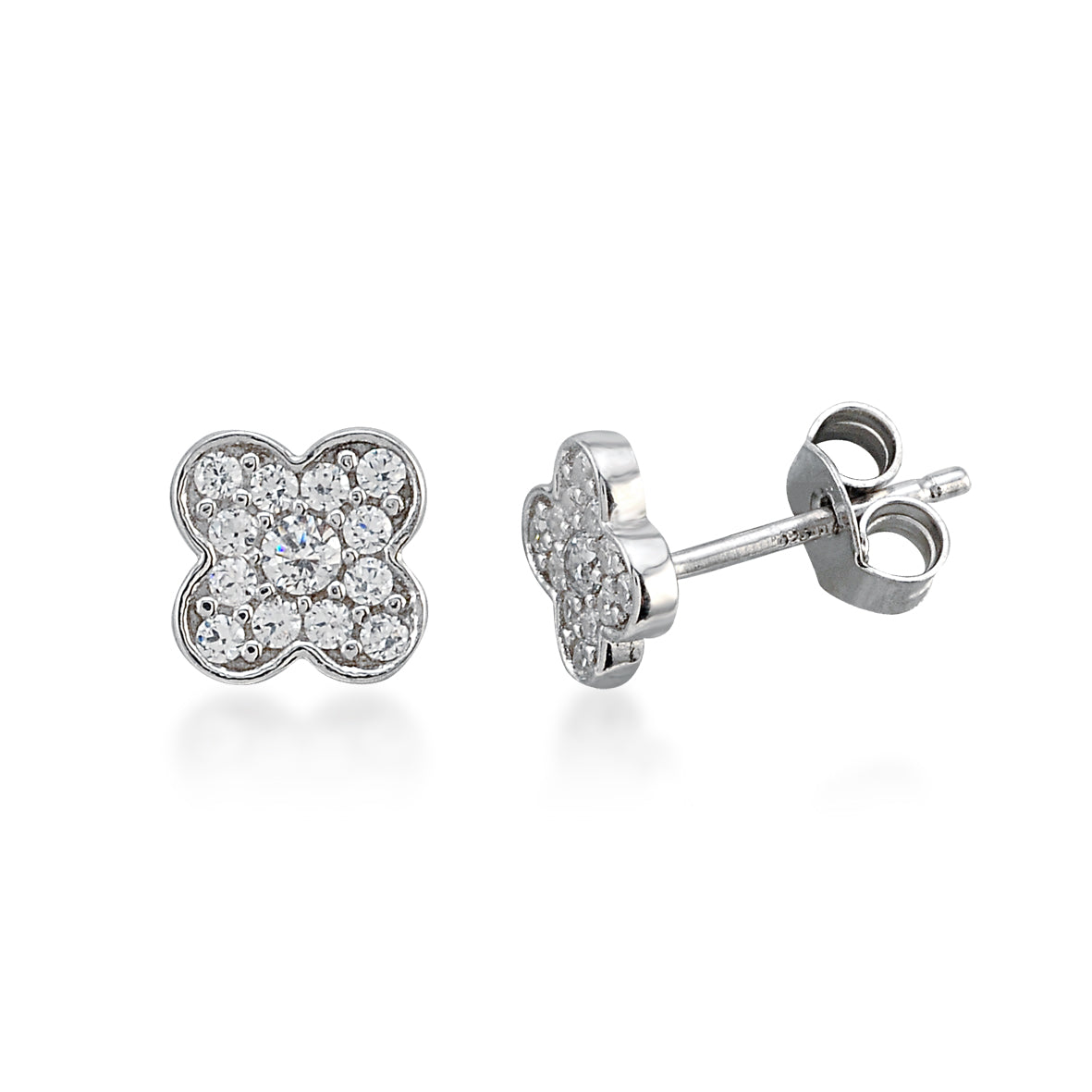 MINI CLOVERLEAF STUDS SILVER - Wonderfuletta