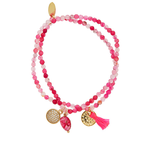 PINK JADE PEARLS BRACELET - Wonderfuletta