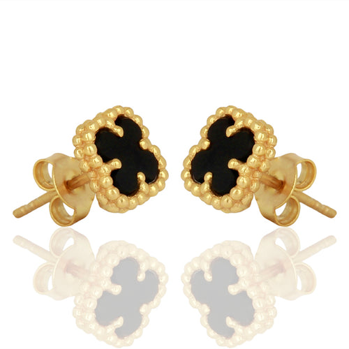 CLOVERLEAF MINI STUD BLACK ONYX - Wonderfuletta