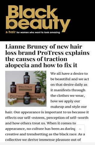 ProTress Hair Care Feature in Black Beauty and Hair Magazine on Trraction Alopecia