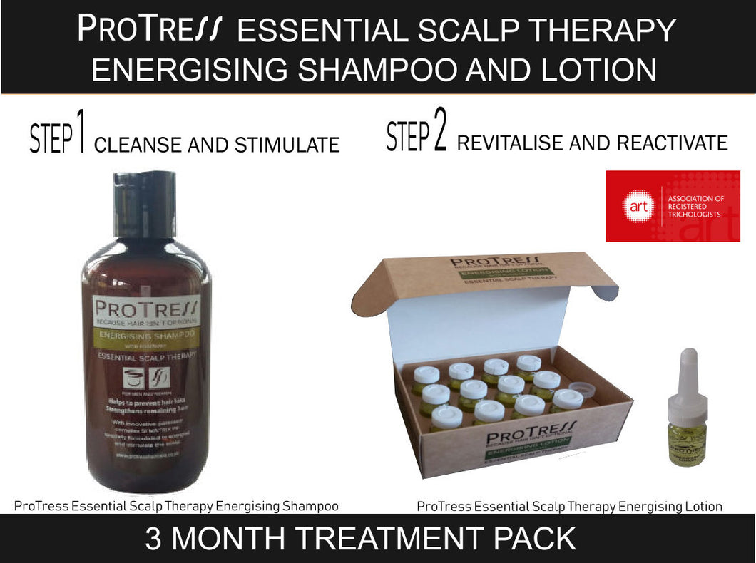 ProTress Essential Scalp Therapy Energising Shampoo and Lotion 3 Month Treatment Pack