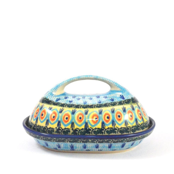 Butter Dish Blue Peacock