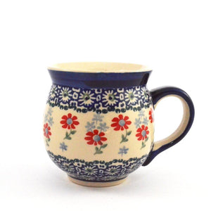 Mug Belly large Red Flowers