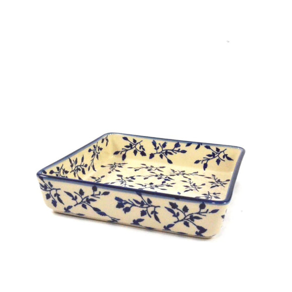Square Oven Dish 21cm  Blue Leaves