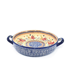 Oven Dish round with handles Red Daisy