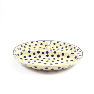Serving Dish Divided medium Dots on White