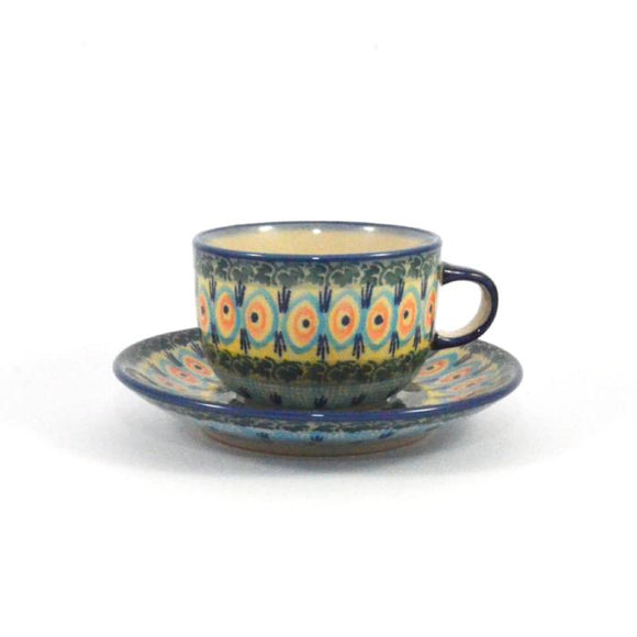 Coffee Cup & Saucer Blue Peacock