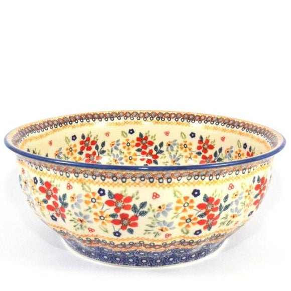 Salad Bowl XLarge Red Daisy
