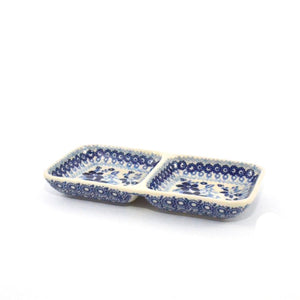 Serving Dish divided small Blue Daisy